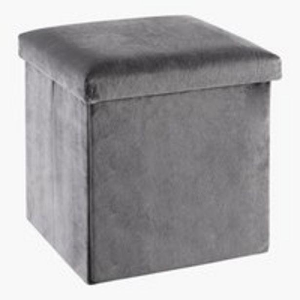 Pouf KALUM 38x38 Samt grau für 14,99€