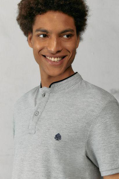 Slim fit mandarin collar polo shirt with velvet für 12,99€