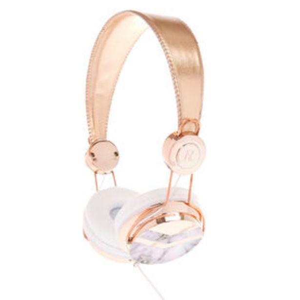 Rose Gold Tone & Marble Print Headphones für 12€