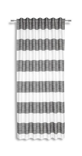 Vorhang mit Schlaufen und Band Nadine B: 140cm, Silber/Weiß für 21,95€