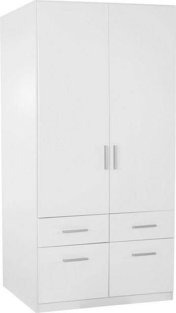 Drehtürenschrank mit Schubladen 91cm Celle, Weiß Dekor für 249€